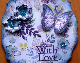 Handmade female birthday card With Love floral butterfly lilac theme