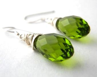 Sterling Silver Green Drop Earrings Wire Wrapped Glass Earrings Dangle Earrings Peridot Earrings