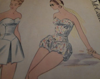 Vintage 1950's McCall's 3165 Bathing Suit or Playsuit Romper Sewing Pattern Size 16 Bust 34