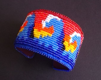 Nami Bead Embroidered Cuff on Etsy--Luxury Bead Embroidery by CircesHouse