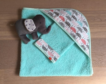 set personalized baby washcloth + hooded towel