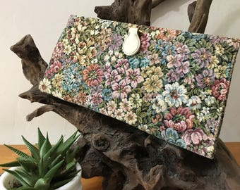 Vintage Floral Tapestry Clutch - Tapestry Handbag