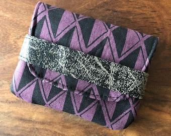 Card Case - Dark Plum Purple and Black Diamond