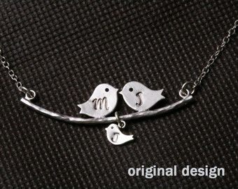 One baby,Bird Necklace,Grandmother,Mother Jewelry,Initial necklace,Mother's day,Family Bird,Lariat Sterling Silver Necklace