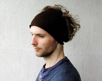 Knitted Mens Headband Guys knit hair wrap - brown guys fall accessory Mens dreadlock tube hat, plain hair wrap
