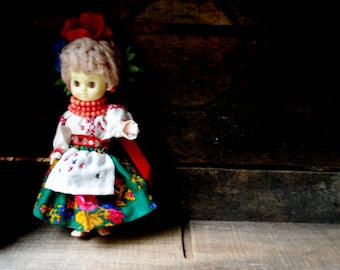 Ethnic vintage 80s, ukrainian  doll , hand made  skirt, blouse, apron, necklace, ribbons, flowers.