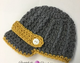 Newborn boy newsboy hat... photography prop... ready to ship.. gray and mustard.. baseball cap
