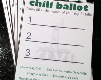 Chili Cook-Off Party Ballot // Chili Cook Off Printable // Customized Chili Voting // DIY Chili Competition