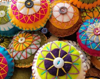 Handmade Pin Cushions - Felt Curlicues