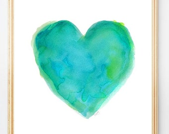 Turquoise Heart, 8x10 Watercolor Print, Beach House Decor, Blue and Green Decor, Turquoise and Lime Decor, Aqua and Lime Wall Decor,Turq Art