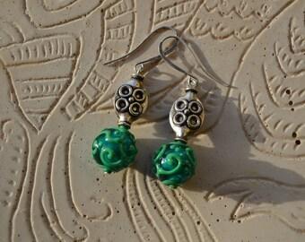 Statement earrings, Lampwork earrings, Encased lampworked glass beads, Murano Glass, OOAK