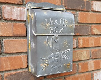 ON SALE! Free Shipping! Charming Embossed Bird Metal Vintage Antique Style Rustic US Mail Legal Post Letter Mailbox Box.