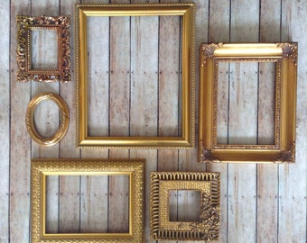 Gold Wall Frame Gallery - Picture Frames & Open Wall Frames - Set of 6 Oval Rectangle Square