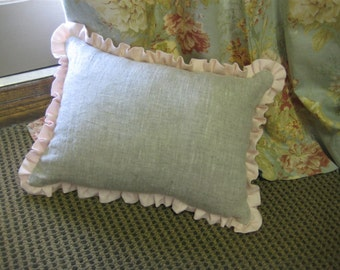 Ruffled Washed Linen Pillow Sham and Removable Insert-12x16 Ruffled Linen Pillow-Ruffled Pillow Sham with Insert-May be Monogrammed
