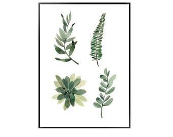 4 leaf print watercolour