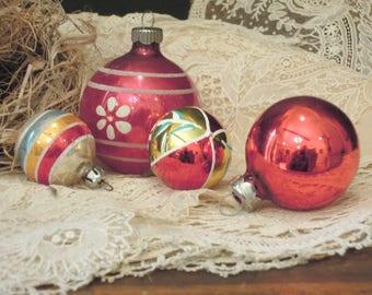 Four Vintage Mercury Glass Christmas Ornaments / Round Ornaments / Mini Ornament Collection