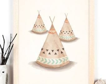 Teepee Art - 11x14 or A3 Tribal Art Print of Teepees, Boys Room Decor