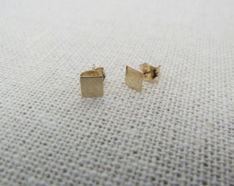 14KT Small Square Stud Earrings, Gold Geometric Square Stud Earrings- 14KT Yellow Solid Gold Polished or Satin Matte Finish