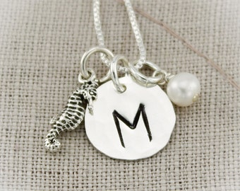 Choose Your Charm Dainty Sterling Silver Initial Monogram Necklace  and Personalized Initial Hand Stamped Jewelry