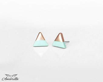 PALE MINT & ROSE Gold Dipped Triangle Stud Earrings |Hypoallergenic Studs,Everyday Lightweight Earrings,Geometric Studs by Amoorella Jewelry