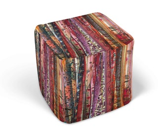 Boho Chic Cube Ottoman, Gypsy Spirit, Footstool, Boho Decor