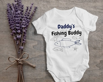 Daddy's fishing buddy,funny baby bodysuit,one piece,humor,new born,cute,burp,outfit,game ,baby shower gift,cute daddy's baby,gift