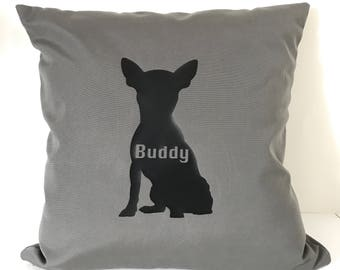 Dog Silhouette Pillow, Personalized Dog Pillow, Dog Name Pillow, My Dog Pillow, Dog Lover, Dog Gift, Dog Silhouette, Personalized Dog Gift