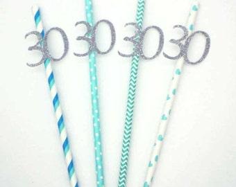 30th birthday straws- Silver and Blue