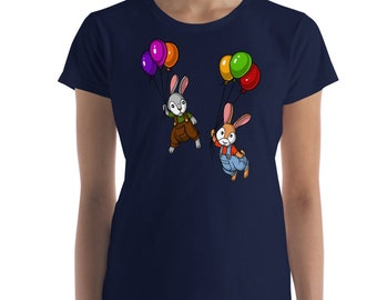 Rabbit Shirt Bunny Shirt Funny Pet Gift Couples Shirts Easter Bunny Rabbit Gift Animal Lover Gift Womens Shirts Cute Animals Balloons