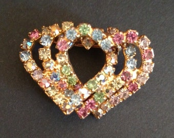 Vintage Triple Pastel Rhinestone Heart Brooch
