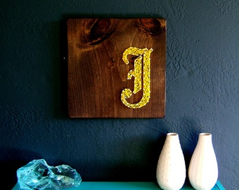 Modern String Art Wooden Tablet - Old English J in Gold on Jacobean