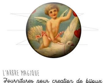 2 cabochons craft Angel Dove ref 1453 - glass 14 mm-