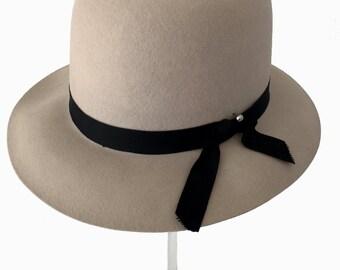Vintage Hat - Grey Wool Hat - Bianchi Hat