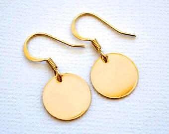 Gold Discs . Earrings