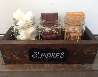 S'mores Bar Mason Jar Wood Planter Box Front Entry, Wedding, or Home Decor.  Country Chic