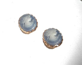 Blue cameo earrings clips