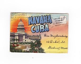 Havana Cuba Linen Postcard Folder c.1940, Pre Castro Postcards, Vintage Havana Photos, Fort Morro Cuba, Marti or Prado Promenade,Old Havana