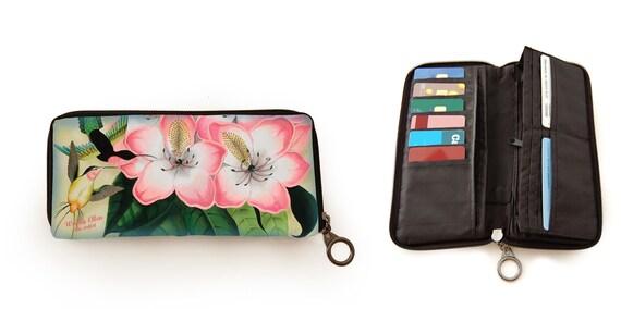 Retro wallet, vintage wallet, Libre, flower, kolibri, humming bird, gift for her, gift mom, valentine gift,christmas gift idea,floral wallet