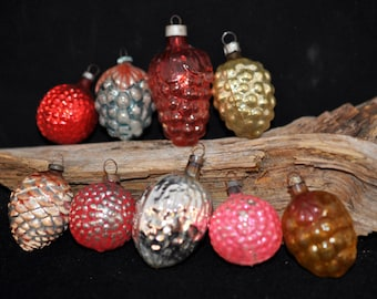 9 Wonderful Christmas Ornaments, Box, We have more, Nuts, Grapes, Vintage Christmas Ornaments, Gift idea, antique #44