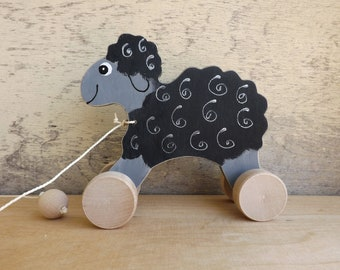 Wood pull toy Sheep in Brown Black White Grey, hand-painted pull along toy on wheels, cheerful personalized wooden sheep toy for toddlers