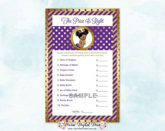 Price Is Right Ruffle Pants Purple & Gold | Baby Shower Game | African American Afro Puffs | Digital Instant Download