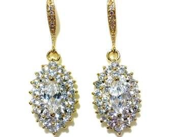Gold Bridal Earrings, Marquise Dangle Earrings, Art Deco Bridal Jewelry, Gatsby Wedding Earrings, Cubic Zirconia Wedding Jewelry, BLINGS