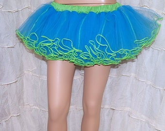 Turquoise Blue and Lime Green Piped Hem Crinoline TuTu Skirt Adult Medium MTCoffinz - Ready to Ship