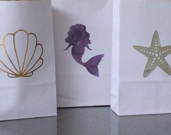 Mermaid party, Mermaid birthday, Mermaid party decorations, Favor bags, Mermaid party bags, Gift bags, Mermaid gift bag, Mermaid decorations