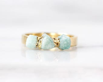 jade mineral ring | organic stone ring | amazonite ring | crystal ring | raw stone ring | organic stone jewelry | turquoise stacking ring