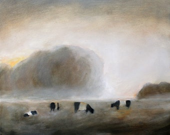 Cows in fog painting - print of original oil painting 8 1/2 x 11 Belted cows art print