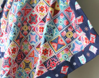 Modern Baby Flannel Blanket, Owls, Receiving Blanket, Baby Blanket, Flannel Receiving Blanket, Baby Girl, Patchwork, Pink and Blue, Handmade