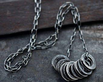 Orbit Circles Necklace •  Raw Silver Circles Necklace • 925 silver • chain necklace • multi circle multi hoops necklace minimalistic jewelry