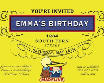 DIGITAL FILE: Madeline Party Invitation