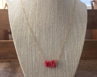 Coral bar necklace/coral necklace/coral and gold bar necklace